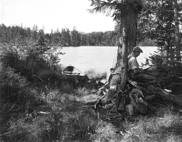 Idyll Photograph - Solitude In The Woods by Underwood Archives