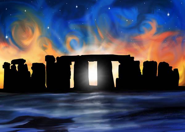 Druid Wall Art - Digital Art - Solstice At Stonehenge  by David Kyte