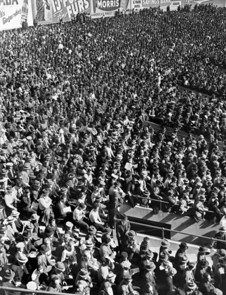 Photograph - Baseball Fans At Yankee Stadium In New York   by Underwood Archives