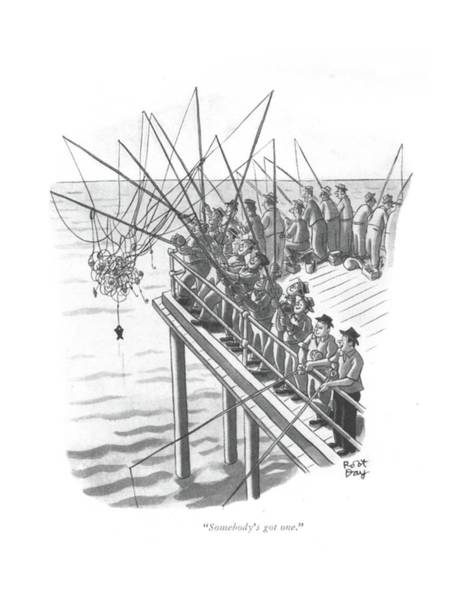 Pier Drawing - Somebody's Got One by Robert J. Day
