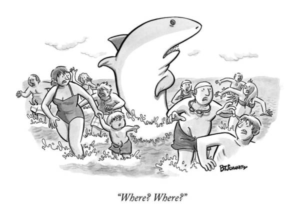 Sharks Drawing - Someone Has Just Yelled Shark! At The Beach by Benjamin Schwartz