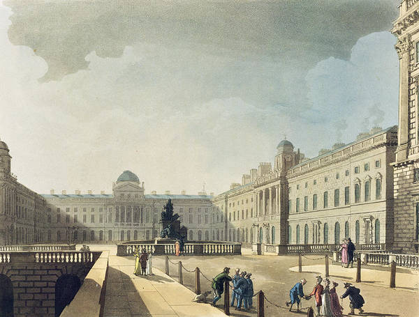 Georgian Drawing - Somerset House, Strand, From Ackermanns by T. & Pugin, A.C. Rowlandson