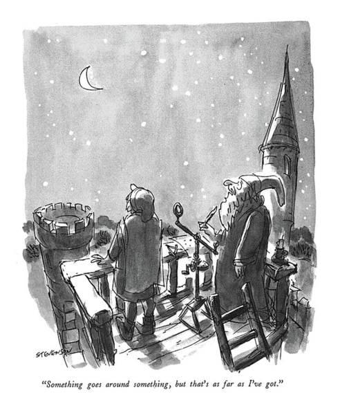 November 25th Drawing - Something Goes Around Something by James Stevenson