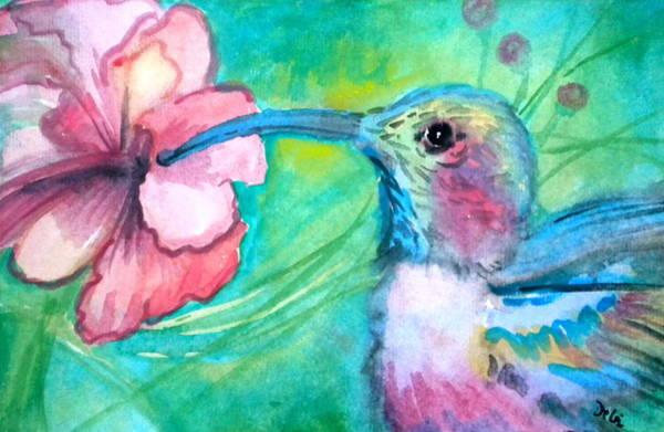 Hibiscus Flower Painting - Something's Humming by Debi Starr