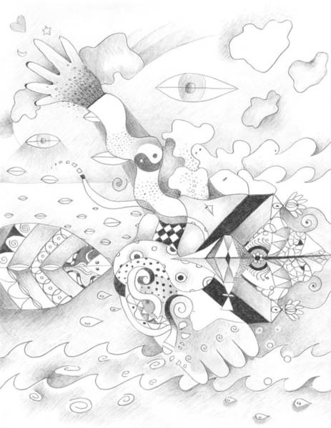 Organic Form Drawing - Sometimes Sideways by Helena Tiainen