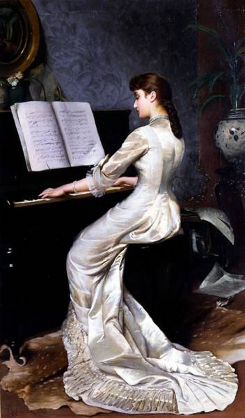 Grand Piano Painting - Song Without Words, Piano Player, 1880 by George Hamilton Barrable