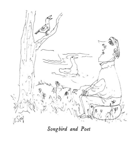 Poet Drawing - Songbird And Poet by William Steig