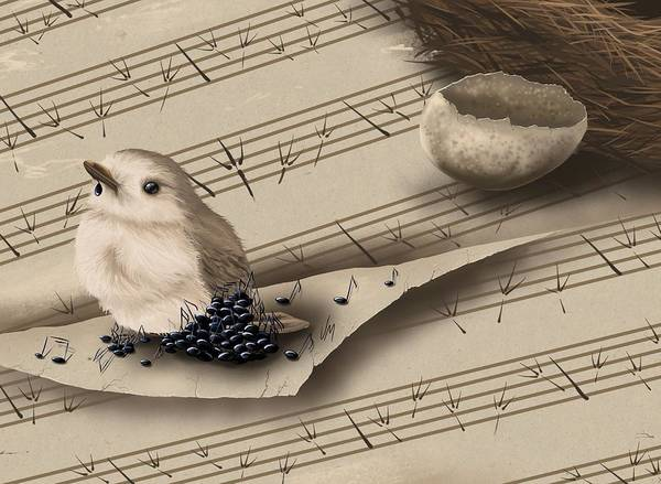 Wall Paper Painting - Songbird by Veronica Minozzi