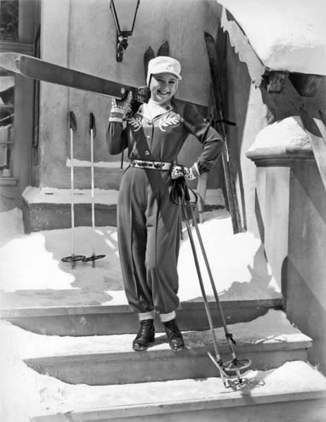 Snow Ski Wall Art - Photograph - Sonja Henie With Ski Gear by Underwood Archives
