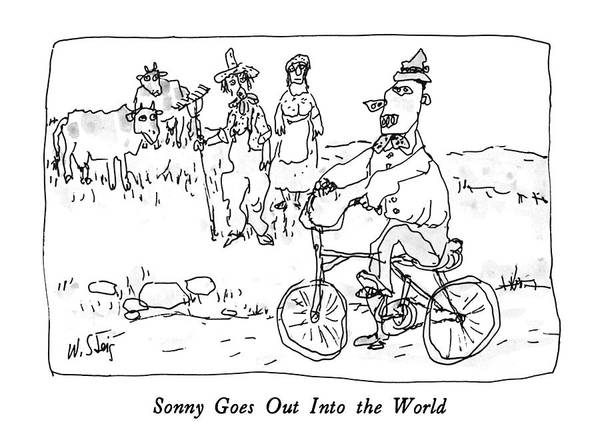 Wall Art - Drawing - Sonny Goes Out Into The World by William Steig