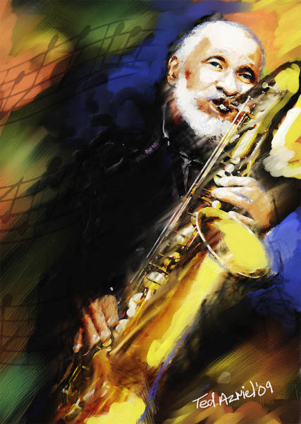 Wall Art - Painting - Sonny Rollins Groovin' The Sax by Ted Azriel