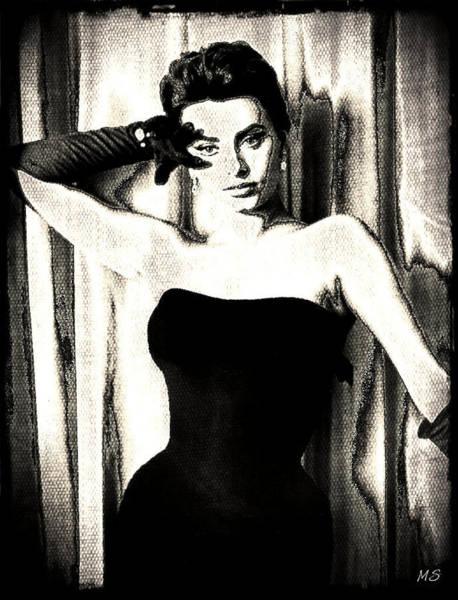 Wall Art - Digital Art - Sophia Loren - Black And White by Absinthe Art By Michelle LeAnn Scott