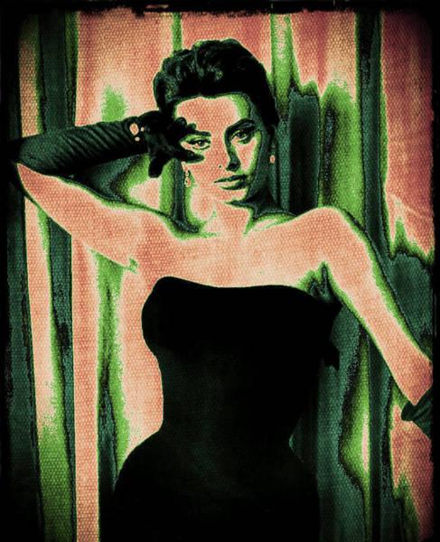 Wall Art - Digital Art - Sophia Loren - Green Pop Art by Absinthe Art By Michelle LeAnn Scott