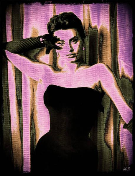 Wall Art - Digital Art - Sophia Loren - Purple Pop Art by Absinthe Art By Michelle LeAnn Scott