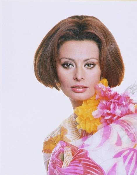 Flower Head Photograph - Sophia Loren Wearing A Bright Printed Organza by Henry Clarke