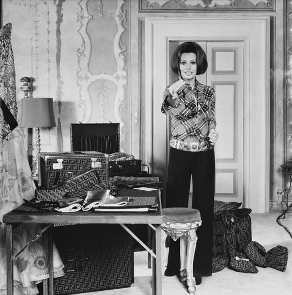 Luggage Photograph - Sophia Loren With Luggage by Henry Clarke