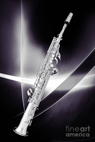 Photograph - Soprano Saxophone Music Photograph In Sepia 3338.01 by M K Miller