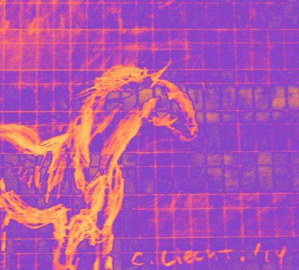 Liechtenstein Digital Art - Sorraia Wild Horse In A City by Carolina Liechtenstein