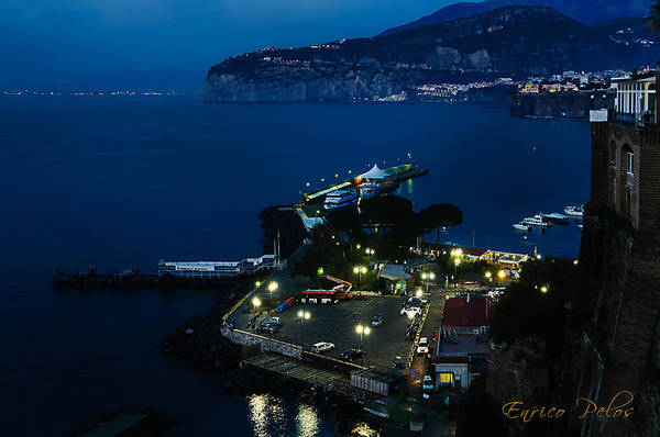 Photograph - Sorrento Porticciolo Notturna - Sorrento Harbour By Night by Enrico Pelos