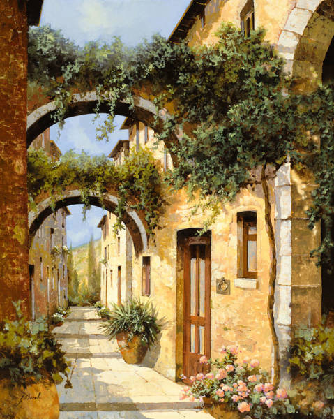 Tuscany Landscape Wall Art - Painting - Sotto Gli Archi by Guido Borelli
