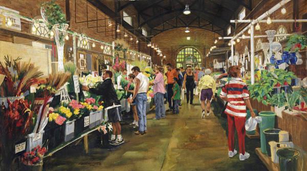 Flower Market Painting - Soulard Market Shopping Flowers by Don  Langeneckert