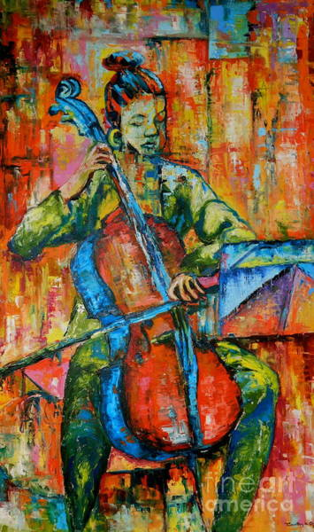 Cellist Painting - Sound And Music I by Timothy Orikri