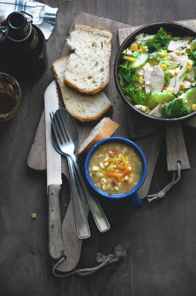 Mug Photograph - Soup And Salad by A.y. Photography