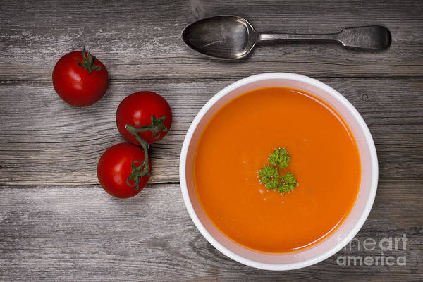 Wall Art - Photograph - Soup On Wood Table by Jane Rix