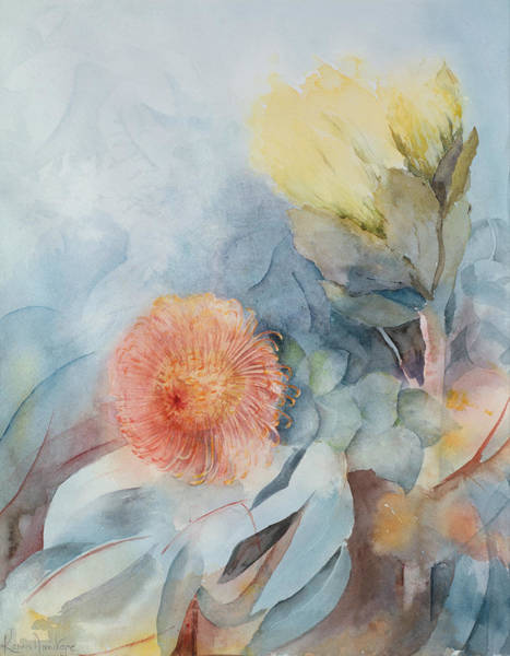 Subtle Painting - South Africa Protea by Karen Armitage