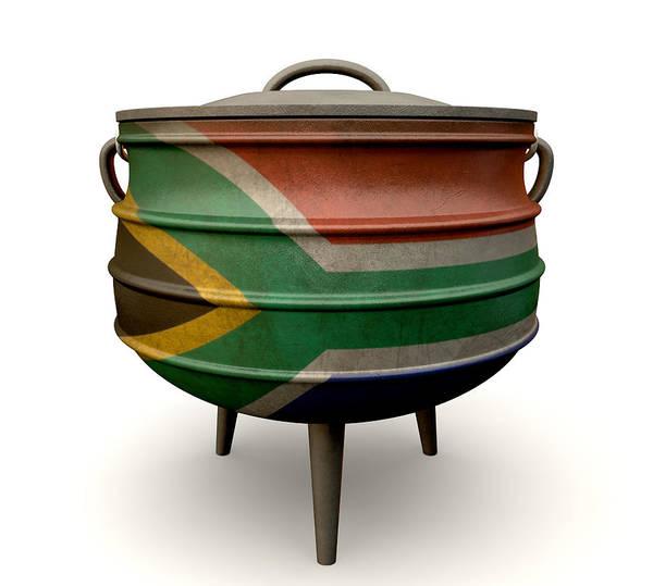 Cooking Digital Art - South African Potjie Pot Painted Flag by Allan Swart