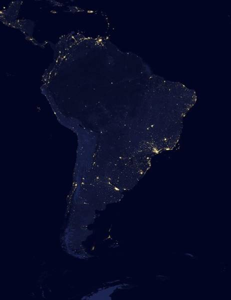 Suomi Photograph - South America At Night, Satellite Image by Science Photo Library