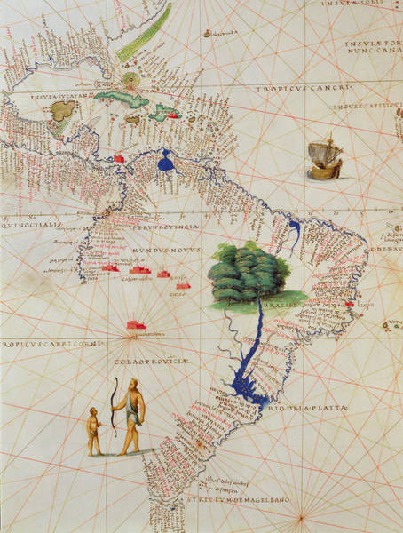 South Island Drawing - South America, From An Atlas Of The World In 33 Maps, Venice, 1st September 1553  by Battista Agnese