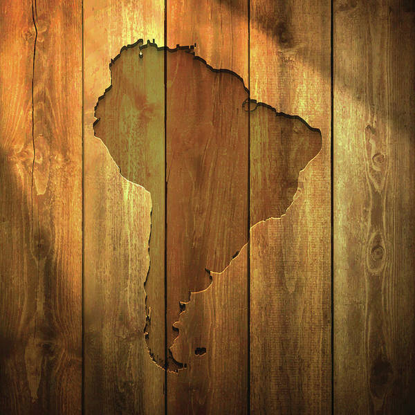 Colombian Wall Art - Digital Art - South America Map On Lit Wooden by Bgblue