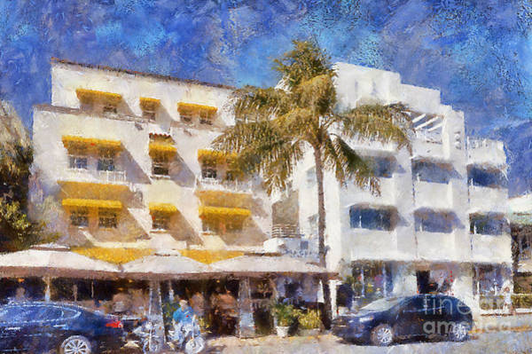 Photograph - South Beach Miami Art Deco Buildings by Les Palenik