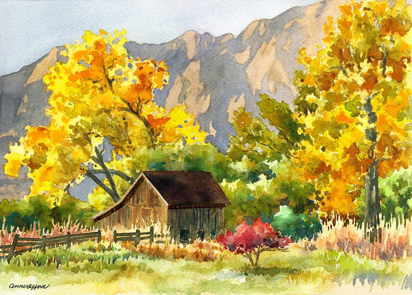 Barns Wall Art - Painting - South Boulder Barn by Anne Gifford