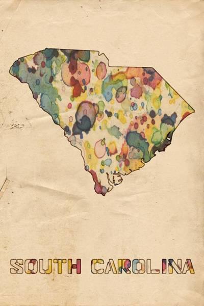 Painting - South Carolina Map Vintage Watercolor by Florian Rodarte