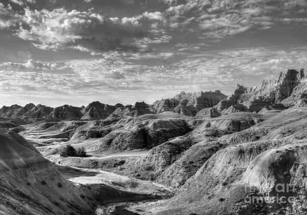 Photograph - South Dakota Badlands 3 Bw by Mel Steinhauer