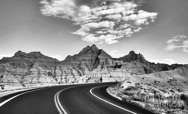 Photograph - South Dakota Badlands Bw by Mel Steinhauer