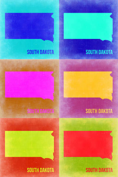 Wall Art - Painting - South Dakota Pop Art Map 2 by Naxart Studio