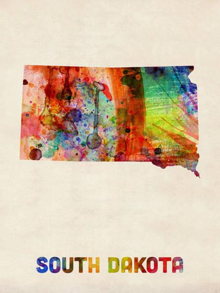 South Dakota Wall Art - Digital Art - South Dakota Watercolor Map by Michael Tompsett