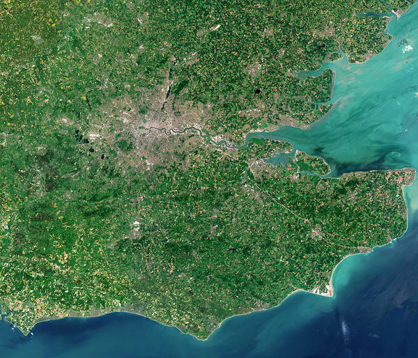 Channel Isles Photograph - South-eastern England by Planetary Visions Ltd/science Photo Library