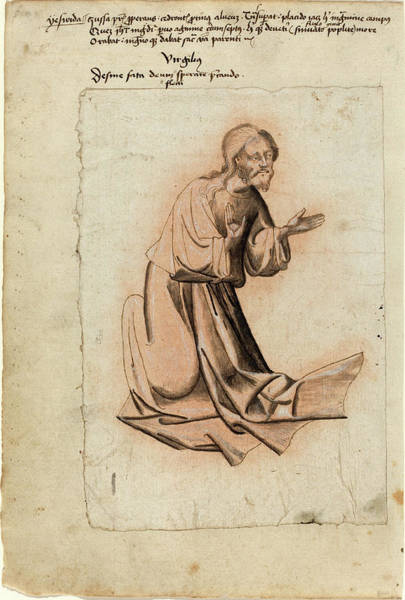 Dark Pink Drawing - South German 15th Century, Christ Kneeling In Prayer by Quint Lox