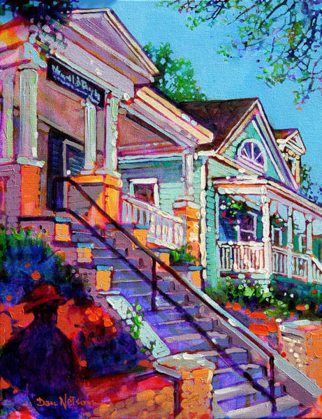 Porch Wall Art - Painting - South Glenwood Stairs by Dan Nelson