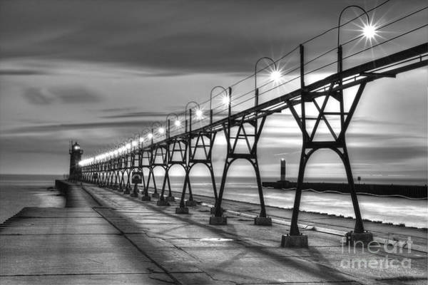 Two Harbors Photograph - South Haven Light In Black And White by Twenty Two North Photography