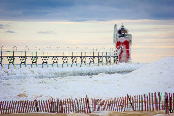 Wall Art - Photograph - South Haven Lighthouse In Winter by Jackie Novak