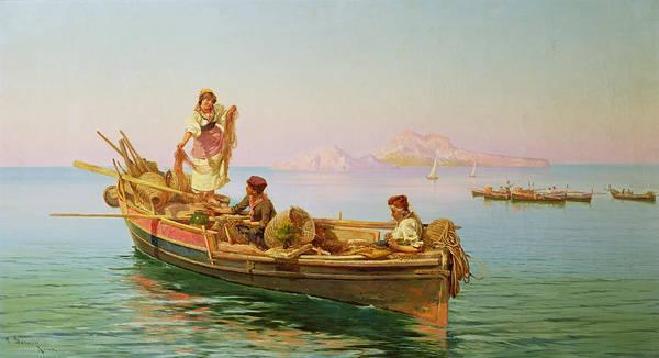 Sicily Painting - South Italian Fishing Scene by Pietro Barucci