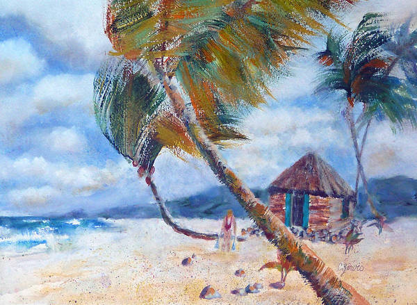 Painting - South Pacific Hut by Carolyn Jarvis