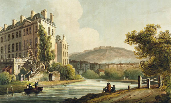 River Bank Drawing - South Parade From Bath Illustrated by John Claude Nattes