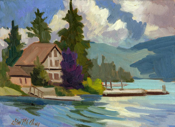 Big Pine Wall Art - Painting - South Shore Big Bear Lake by Diane McClary