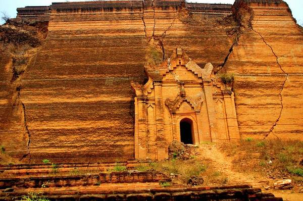 Jim Temple Photograph - South Wall Of Mingun Pagoda by Jim Simmen